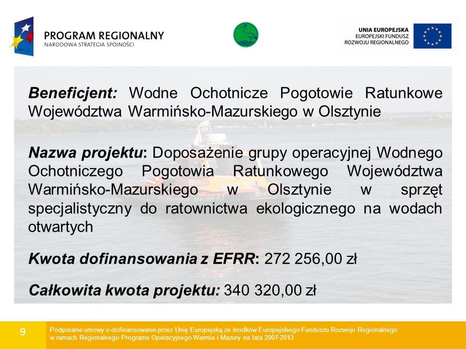 9 Beneficjent: Wodne Ochotnicze Pogotowie Ratunkowe Województwa Warmińsko-Mazurskiego w Olsztynie Nazwa projektu: Doposażenie grupy operacyjnej Wodneg