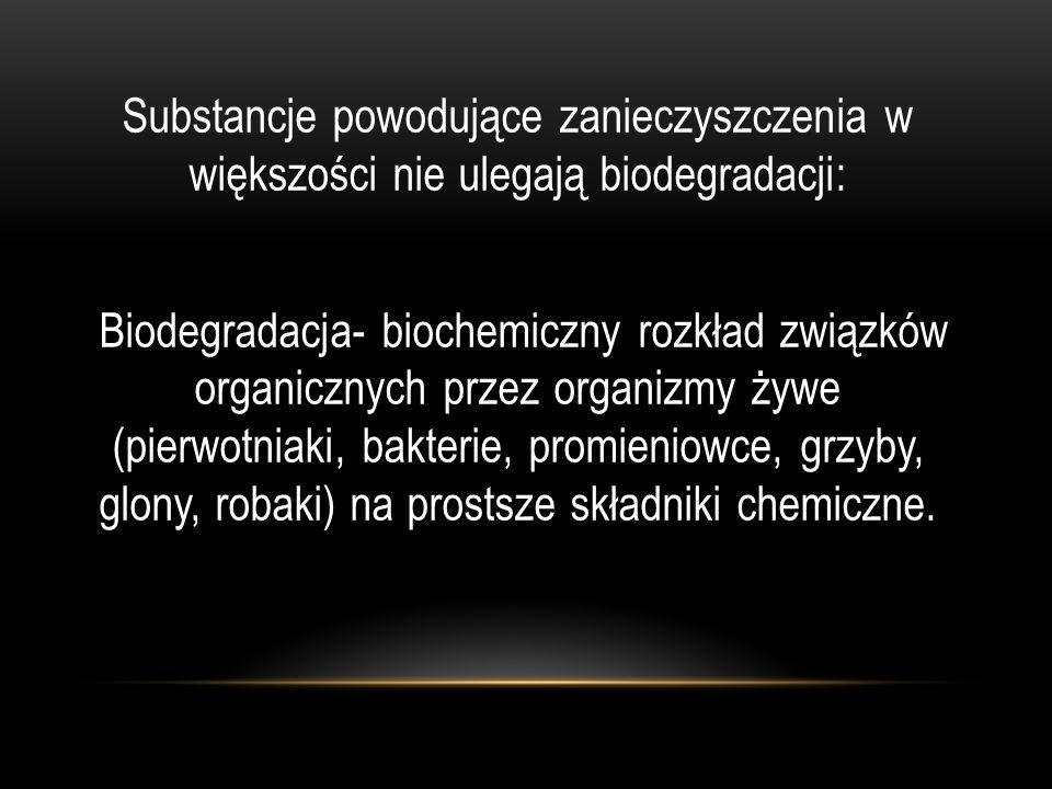 Substancje powodujące zanieczyszczenia w większości nie ulegają biodegradacji: Biodegradacja- biochemiczny rozkład związków organicznych przez organiz