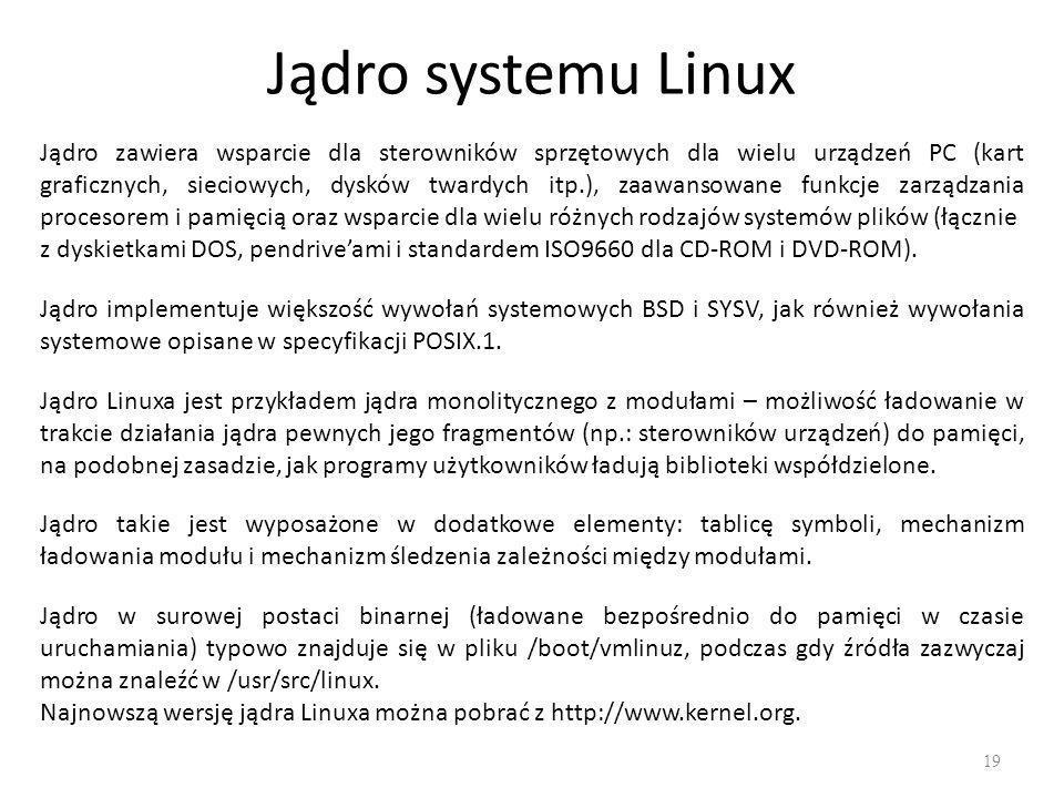 Jądro systemu Linux 19 Jądro zawiera wsparcie dla sterowników sprzętowych dla wielu urządzeń PC (kart graficznych, sieciowych, dysków twardych itp.), zaawansowane funkcje zarządzania procesorem i pamięcią oraz wsparcie dla wielu różnych rodzajów systemów plików (łącznie z dyskietkami DOS, pendrive'ami i standardem ISO9660 dla CD-ROM i DVD-ROM).