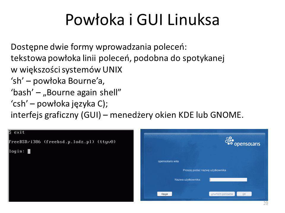 """Powłoka i GUI Linuksa 20 Dostępne dwie formy wprowadzania poleceń: tekstowa powłoka linii poleceń, podobna do spotykanej w większości systemów UNIX 'sh' – powłoka Bourne'a, 'bash' – """"Bourne again shell 'csh' – powłoka języka C); interfejs graficzny (GUI) – menedżery okien KDE lub GNOME."""