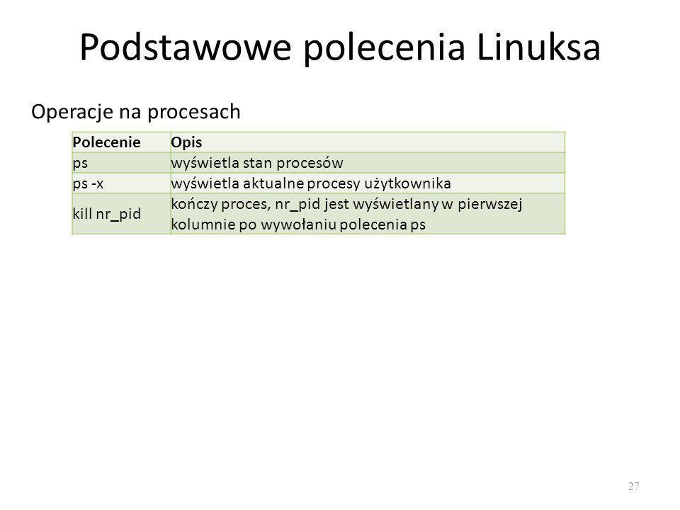 Podstawowe polecenia Linuksa 27 Operacje na procesach PolecenieOpis pswyświetla stan procesów ps -xwyświetla aktualne procesy użytkownika kill nr_pid kończy proces, nr_pid jest wyświetlany w pierwszej kolumnie po wywołaniu polecenia ps