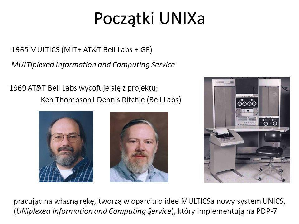 4 Początki UNIXa 1965 MULTICS (MIT+ AT&T Bell Labs + GE) MULTiplexed Information and Computing Service 1969 AT&T Bell Labs wycofuje się z projektu; Ke