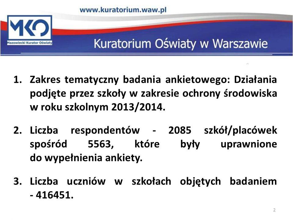 2 1.Zakres tematyczny badania ankietowego: Działania podjęte przez szkoły w zakresie ochrony środowiska w roku szkolnym 2013/2014.