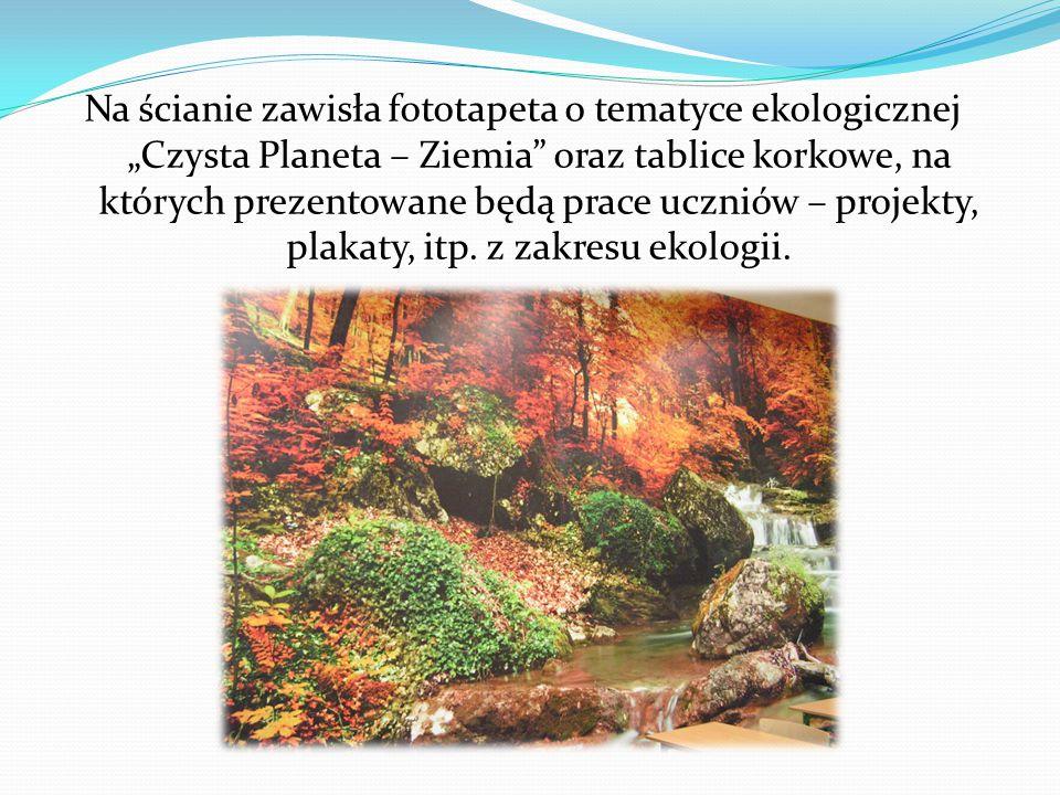 """Na ścianie zawisła fototapeta o tematyce ekologicznej """"Czysta Planeta – Ziemia oraz tablice korkowe, na których prezentowane będą prace uczniów – projekty, plakaty, itp."""
