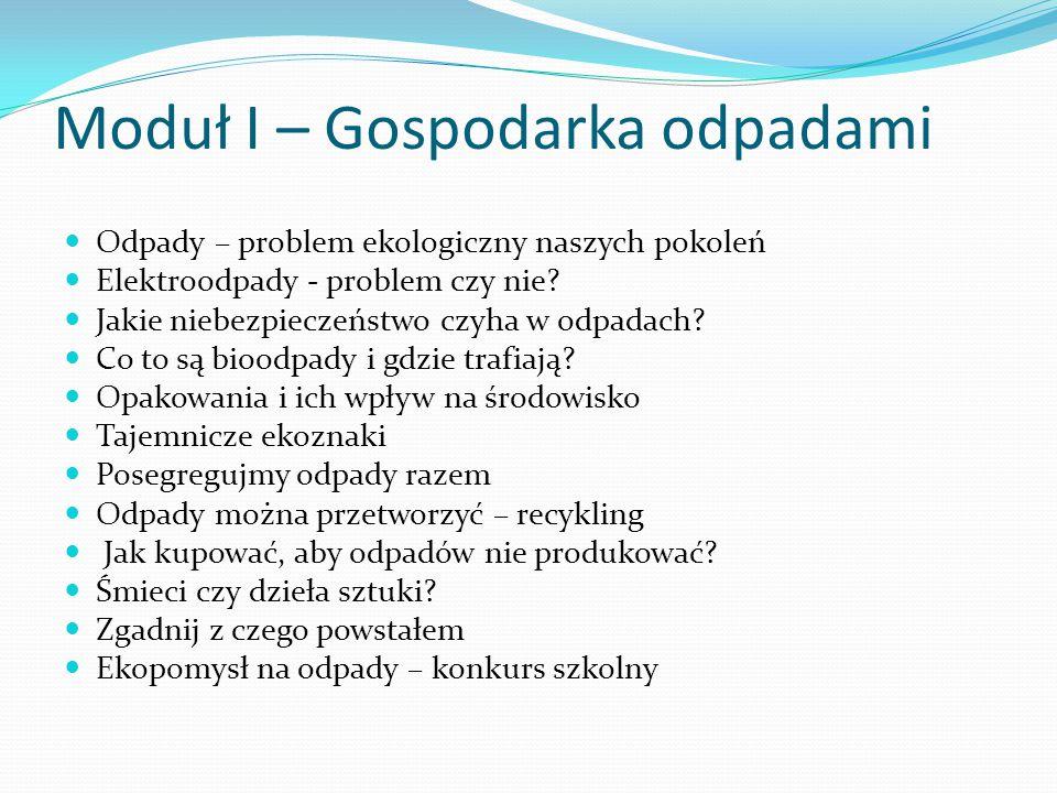 Moduł I – Gospodarka odpadami Odpady – problem ekologiczny naszych pokoleń Elektroodpady - problem czy nie? Jakie niebezpieczeństwo czyha w odpadach?