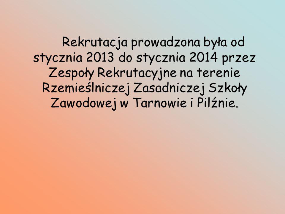 Rekrutacja prowadzona była od stycznia 2013 do stycznia 2014 przez Zespoły Rekrutacyjne na terenie Rzemieślniczej Zasadniczej Szkoły Zawodowej w Tarnowie i Pilźnie.
