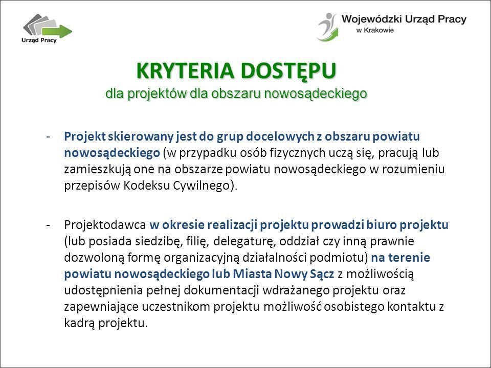 -Projekt skierowany jest do grup docelowych z obszaru powiatu nowosądeckiego (w przypadku osób fizycznych uczą się, pracują lub zamieszkują one na obszarze powiatu nowosądeckiego w rozumieniu przepisów Kodeksu Cywilnego ).