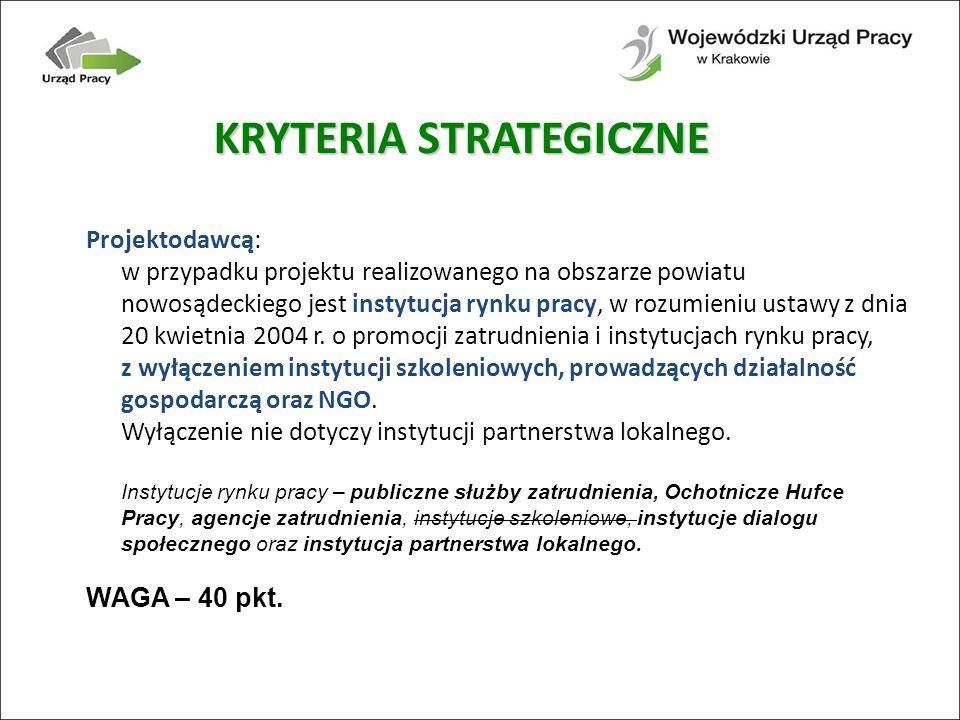 Projektodawcą: w przypadku projektu realizowanego na obszarze powiatu nowosądeckiego jest instytucja rynku pracy, w rozumieniu ustawy z dnia 20 kwietnia 2004 r.