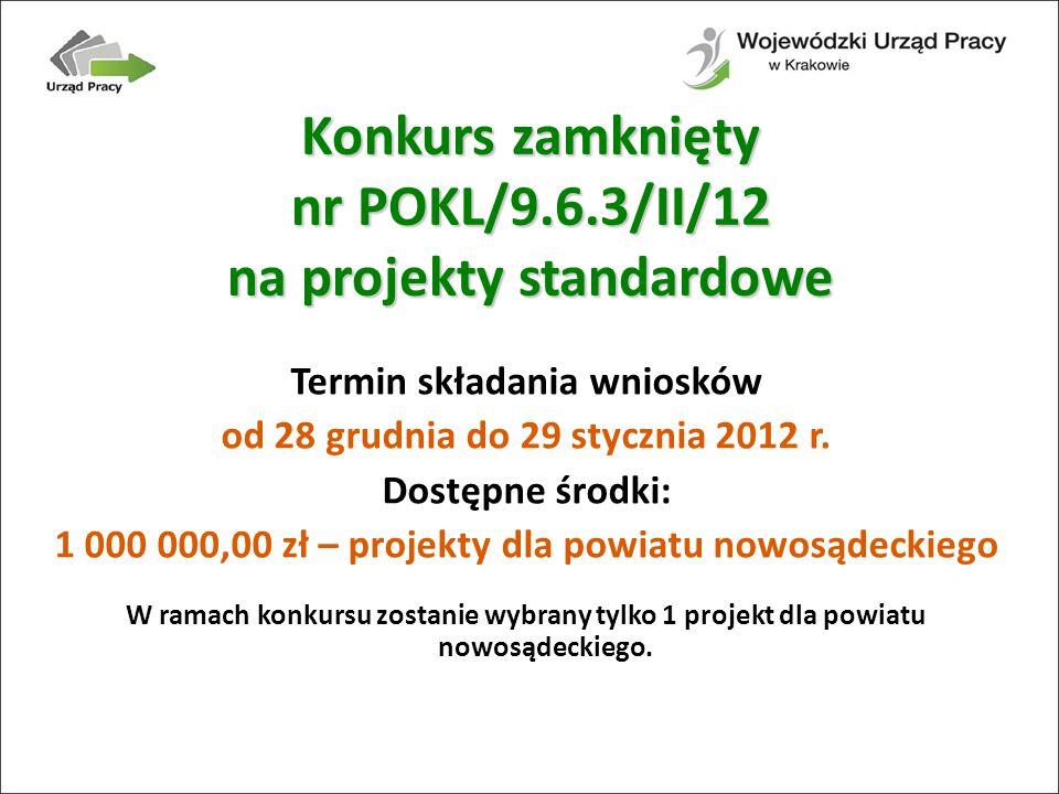 Termin składania wniosków od 28 grudnia do 29 stycznia 2012 r.