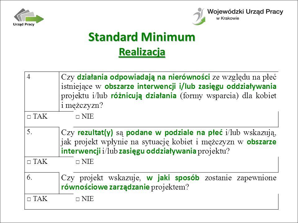 Standard Minimum Realizacja 4 Czy działania odpowiadają na nierówności ze względu na płeć istniejące w obszarze interwencji i/lub zasięgu oddziaływania projektu i/lub różnicują działania (formy wsparcia) dla kobiet i mężczyzn.