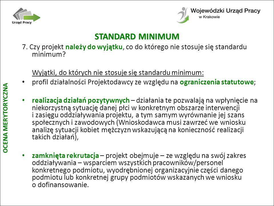 STANDARD MINIMUM 7.Czy projekt należy do wyjątku, co do którego nie stosuje się standardu minimum.