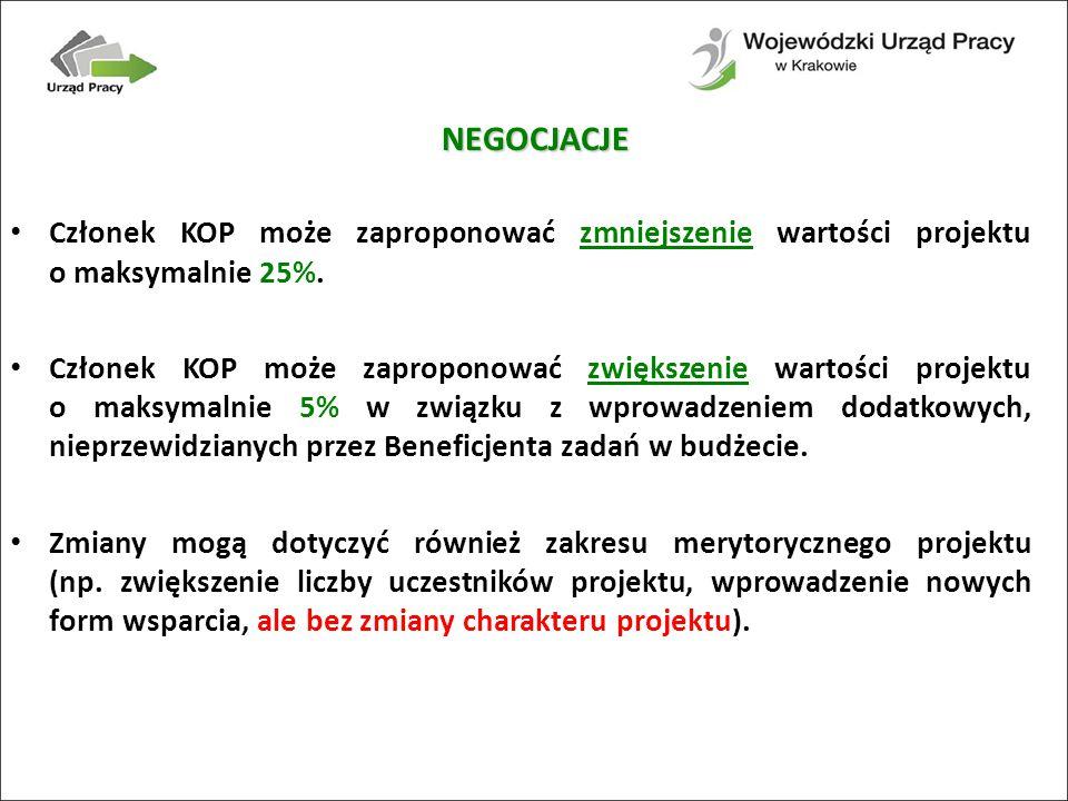 Członek KOP może zaproponować zmniejszenie wartości projektu o maksymalnie 25%.