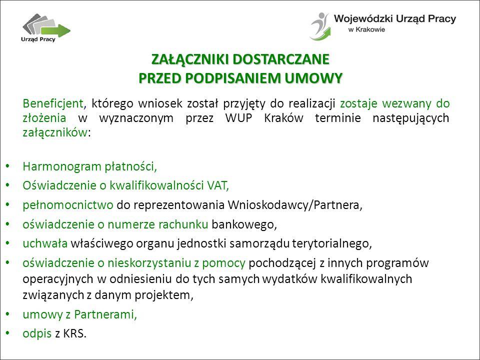 Beneficjent, którego wniosek został przyjęty do realizacji zostaje wezwany do złożenia w wyznaczonym przez WUP Kraków terminie następujących załączników: Harmonogram płatności, Oświadczenie o kwalifikowalności VAT, pełnomocnictwo do reprezentowania Wnioskodawcy/Partnera, oświadczenie o numerze rachunku bankowego, uchwała właściwego organu jednostki samorządu terytorialnego, oświadczenie o nieskorzystaniu z pomocy pochodzącej z innych programów operacyjnych w odniesieniu do tych samych wydatków kwalifikowalnych związanych z danym projektem, umowy z Partnerami, odpis z KRS.