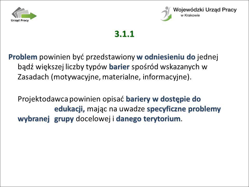 3.1.1 Problemw odniesieniu do barier Problem powinien być przedstawiony w odniesieniu do jednej bądź większej liczby typów barier spośród wskazanych w Zasadach (motywacyjne, materialne, informacyjne).