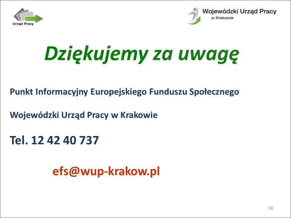 Dziękujemy za uwagę 96 Punkt Informacyjny Europejskiego Funduszu Społecznego Wojewódzki Urząd Pracy w Krakowie Tel.