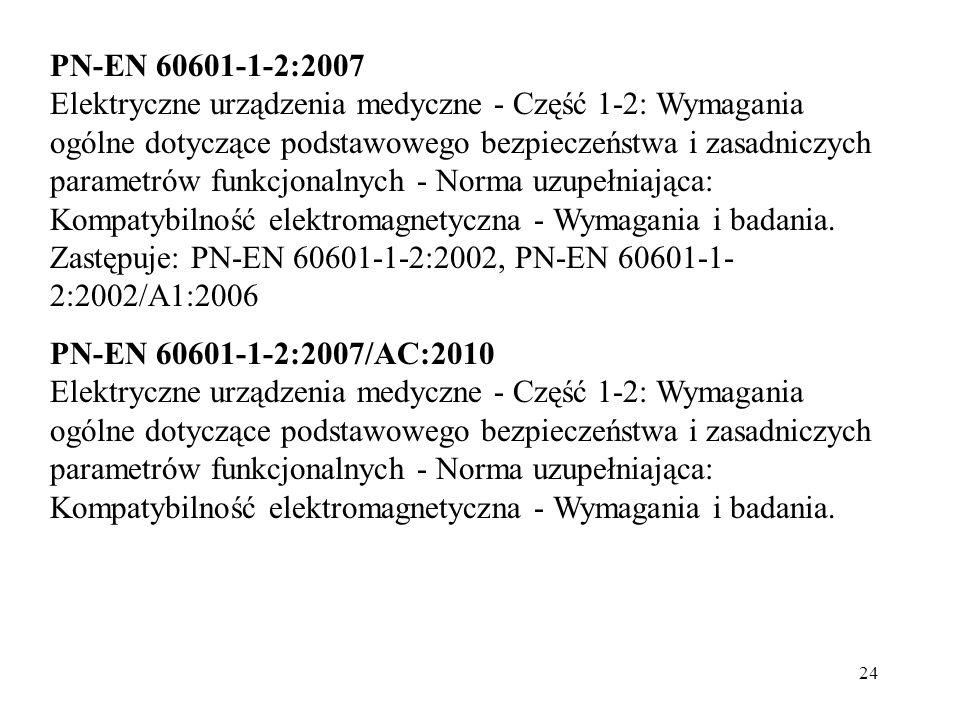 24 PN-EN 60601-1-2:2007 Elektryczne urządzenia medyczne - Część 1-2: Wymagania ogólne dotyczące podstawowego bezpieczeństwa i zasadniczych parametrów