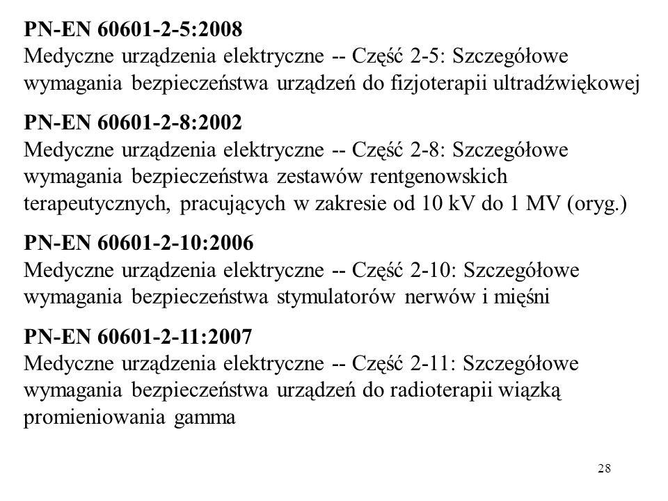 28 PN-EN 60601-2-5:2008 Medyczne urządzenia elektryczne -- Część 2-5: Szczegółowe wymagania bezpieczeństwa urządzeń do fizjoterapii ultradźwiękowej PN