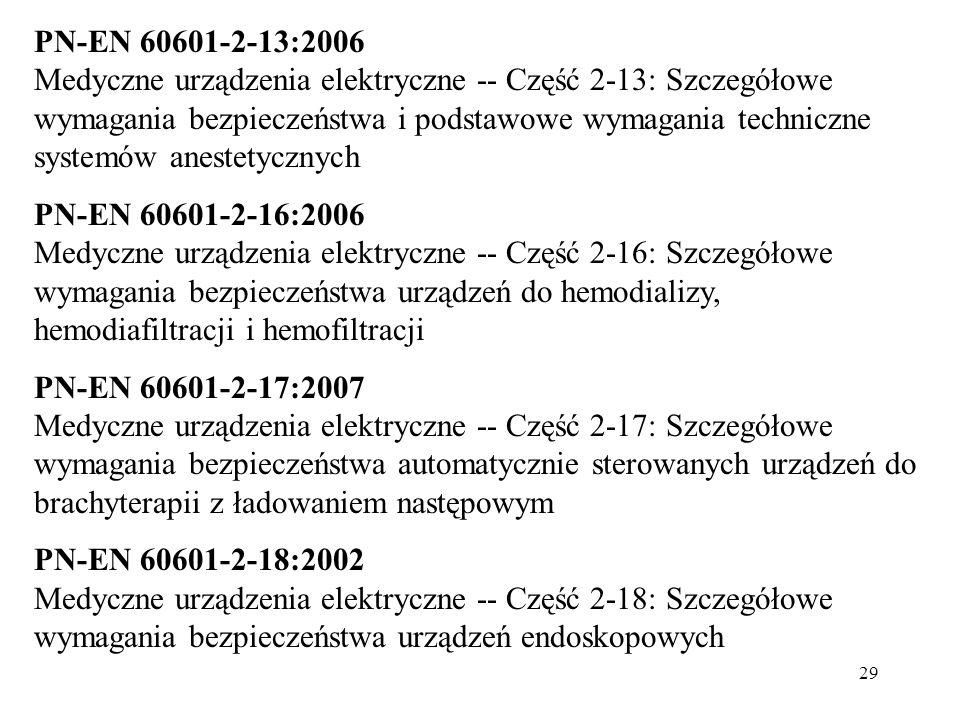 29 PN-EN 60601-2-13:2006 Medyczne urządzenia elektryczne -- Część 2-13: Szczegółowe wymagania bezpieczeństwa i podstawowe wymagania techniczne systemó