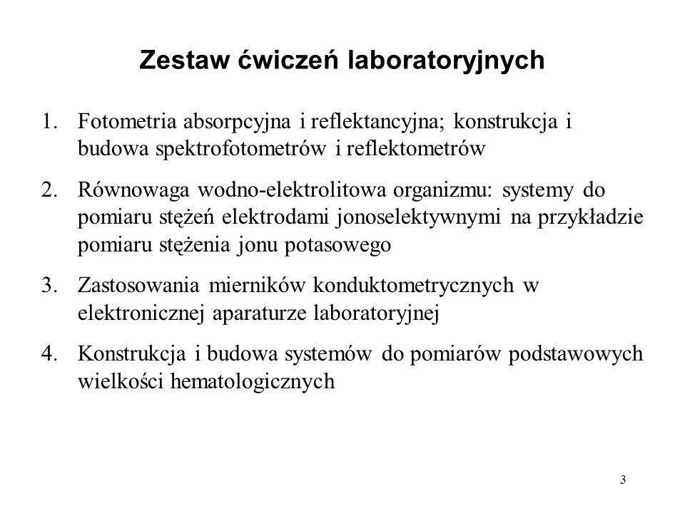 3 Zestaw ćwiczeń laboratoryjnych 1.Fotometria absorpcyjna i reflektancyjna; konstrukcja i budowa spektrofotometrów i reflektometrów 2.Równowaga wodno-
