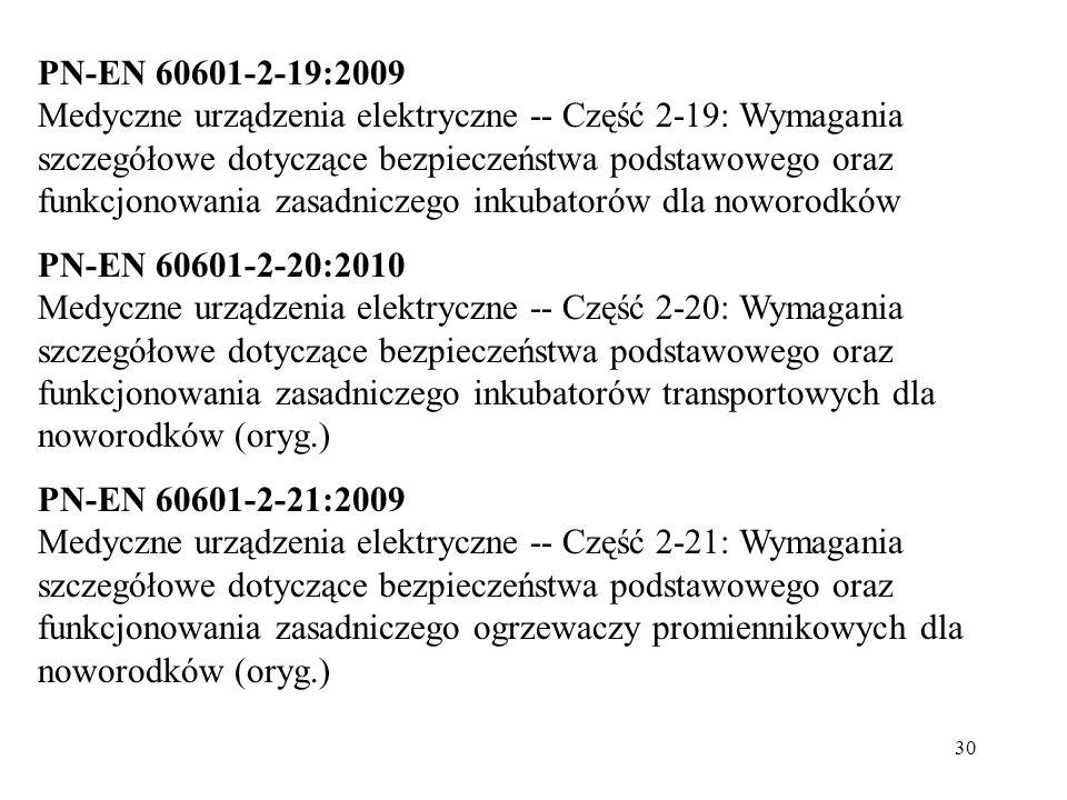 30 PN-EN 60601-2-19:2009 Medyczne urządzenia elektryczne -- Część 2-19: Wymagania szczegółowe dotyczące bezpieczeństwa podstawowego oraz funkcjonowani