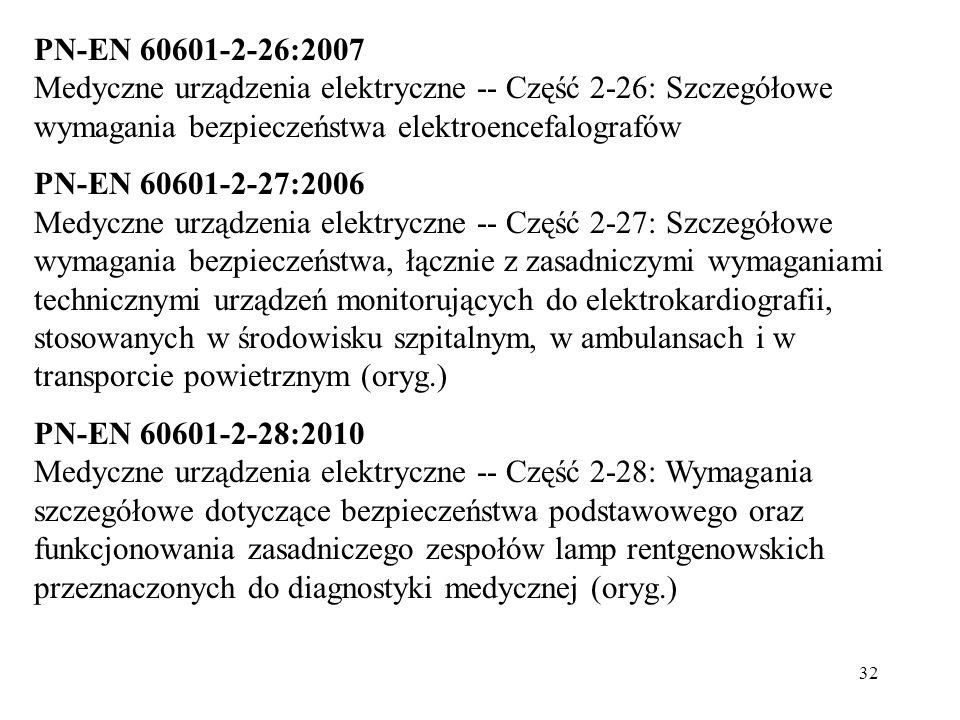 32 PN-EN 60601-2-26:2007 Medyczne urządzenia elektryczne -- Część 2-26: Szczegółowe wymagania bezpieczeństwa elektroencefalografów PN-EN 60601-2-27:20