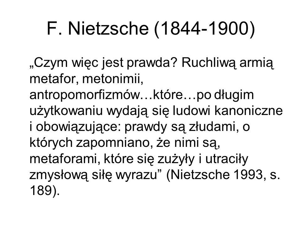 F.Nietzsche (1844-1900) Pojęcia to pozostałości metafor ustabilizowane przez język i naukę.