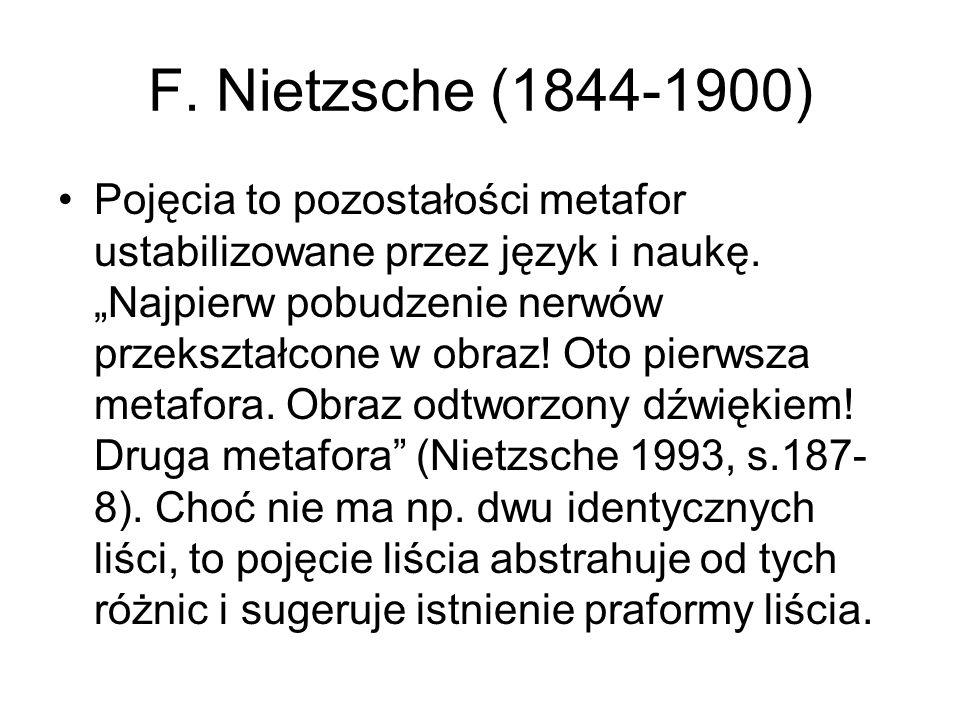F. Nietzsche (1844-1900) Pojęcia to pozostałości metafor ustabilizowane przez język i naukę.