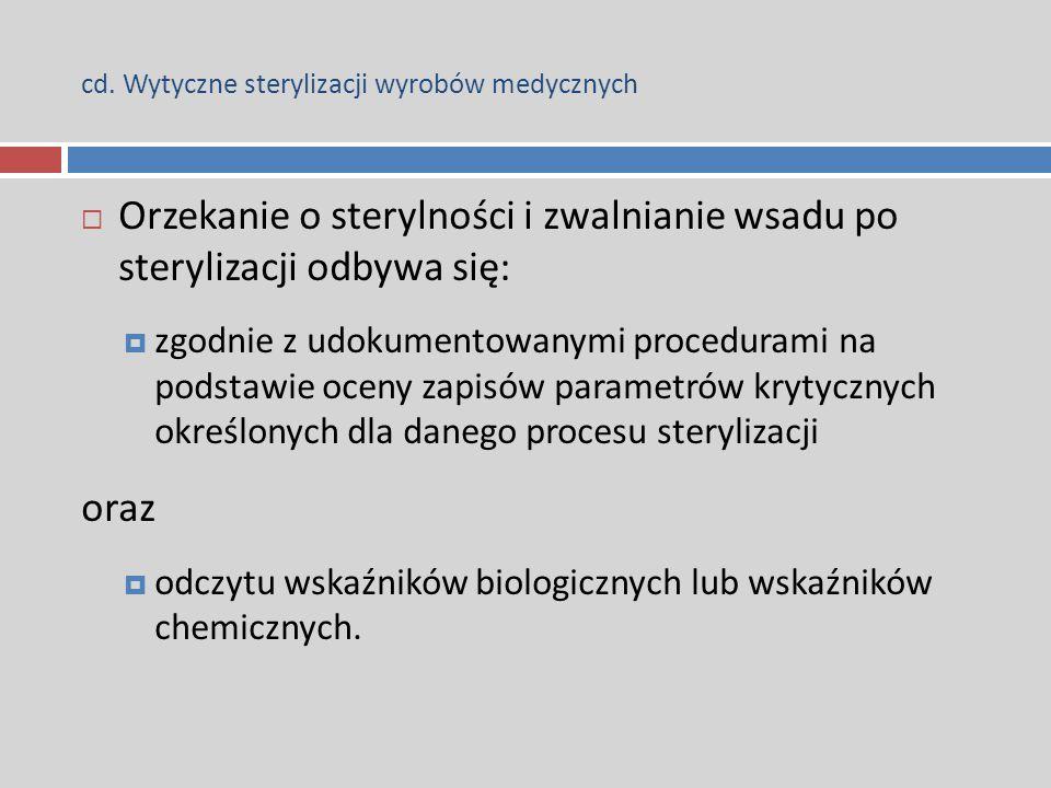 cd. Wytyczne sterylizacji wyrobów medycznych  Orzekanie o sterylności i zwalnianie wsadu po sterylizacji odbywa się:  zgodnie z udokumentowanymi pro