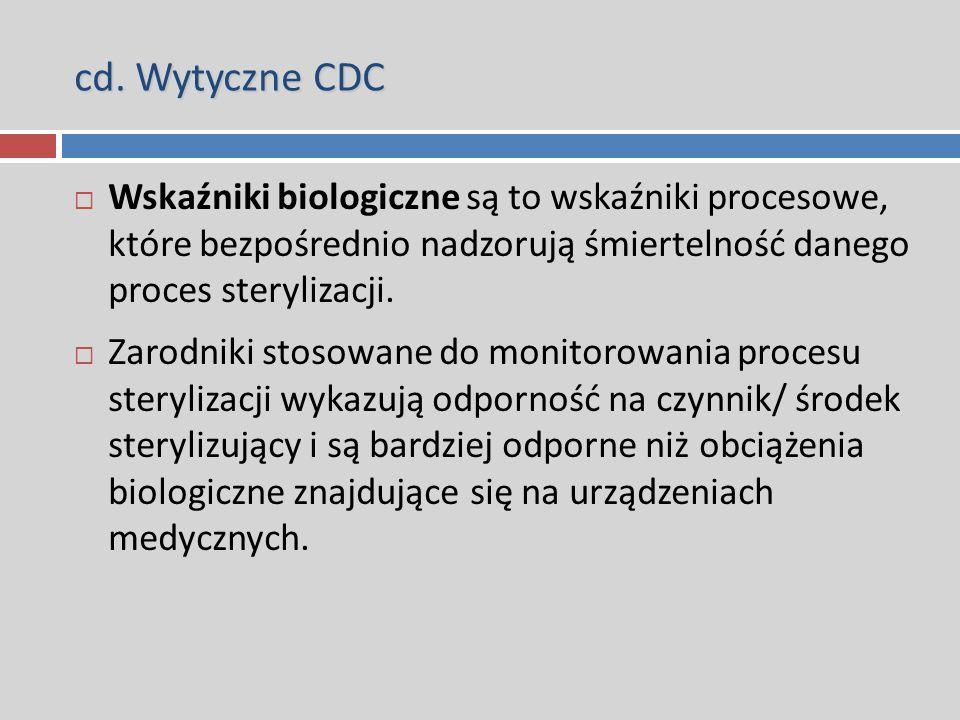 cd. Wytyczne CDC  Wskaźniki biologiczne są to wskaźniki procesowe, które bezpośrednio nadzorują śmiertelność danego proces sterylizacji.  Zarodniki
