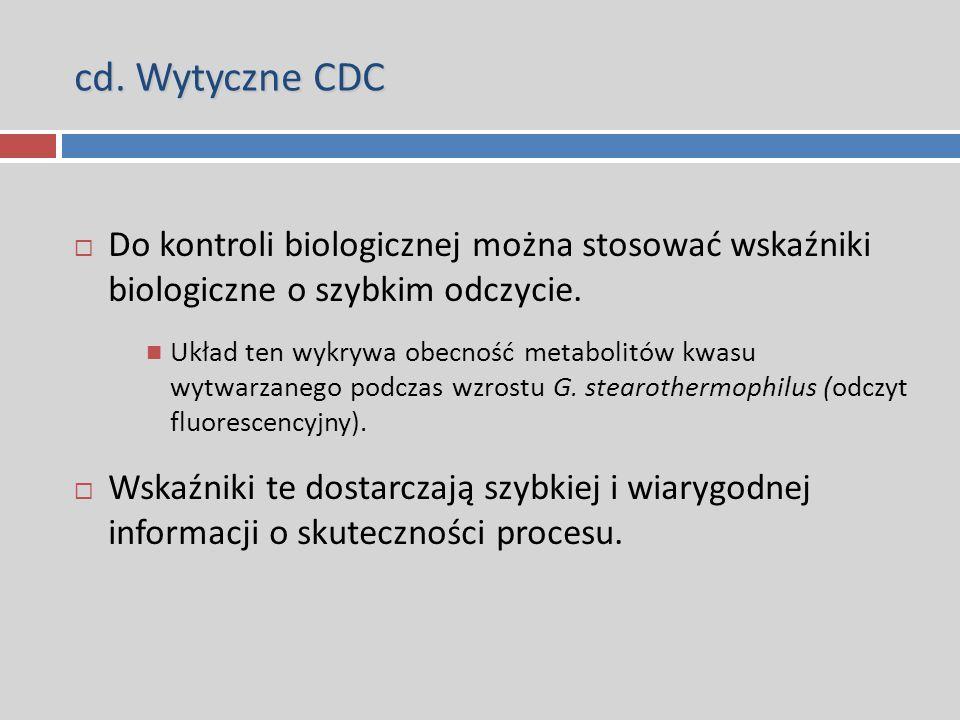 cd. Wytyczne CDC  Do kontroli biologicznej można stosować wskaźniki biologiczne o szybkim odczycie. Układ ten wykrywa obecność metabolitów kwasu wytw