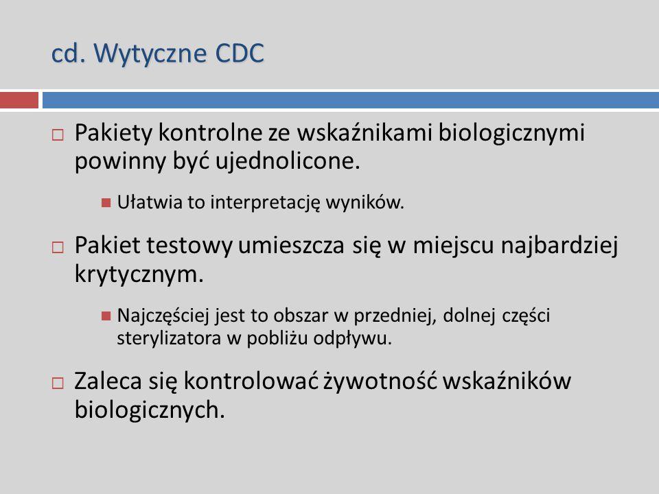 cd. Wytyczne CDC  Pakiety kontrolne ze wskaźnikami biologicznymi powinny być ujednolicone. Ułatwia to interpretację wyników.  Pakiet testowy umieszc