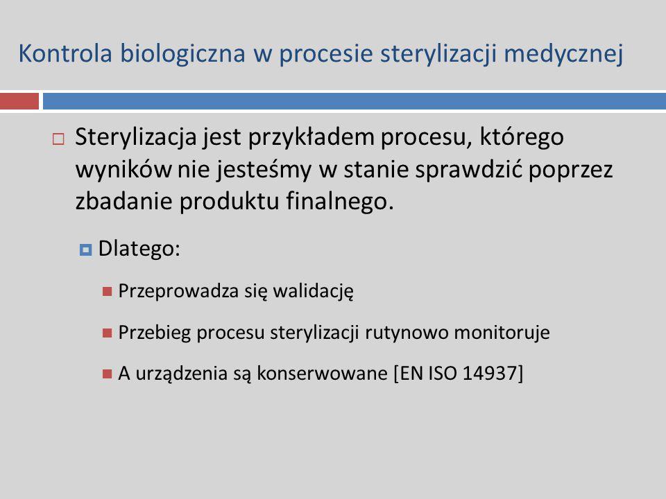 Kontrola biologiczna w procesie sterylizacji medycznej  Sterylizacja jest przykładem procesu, którego wyników nie jesteśmy w stanie sprawdzić poprzez