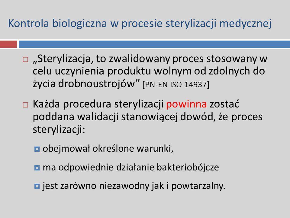 """Kontrola biologiczna w procesie sterylizacji medycznej  """"Sterylizacja, to zwalidowany proces stosowany w celu uczynienia produktu wolnym od zdolnych"""