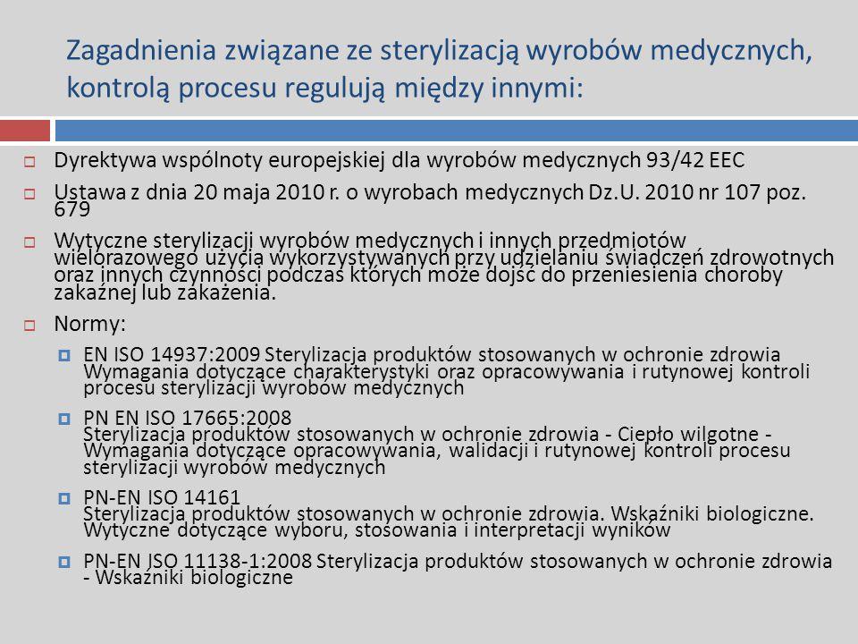 Zagadnienia związane ze sterylizacją wyrobów medycznych, kontrolą procesu regulują między innymi:  Dyrektywa wspólnoty europejskiej dla wyrobów medyc