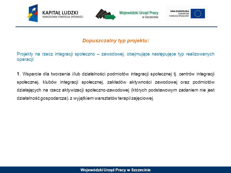 Wojewódzki Urząd Pracy w Szczecinie Grupy docelowe Projekty muszą być skierowane bezpośrednio do następujących grup odbiorców : - osoby niezatrudnione lub zatrudnione w wieku aktywności zawodowej (15-64 lata) zagrożone wykluczeniem społecznym z co najmniej jednego powodu spośród wskazanych w art.