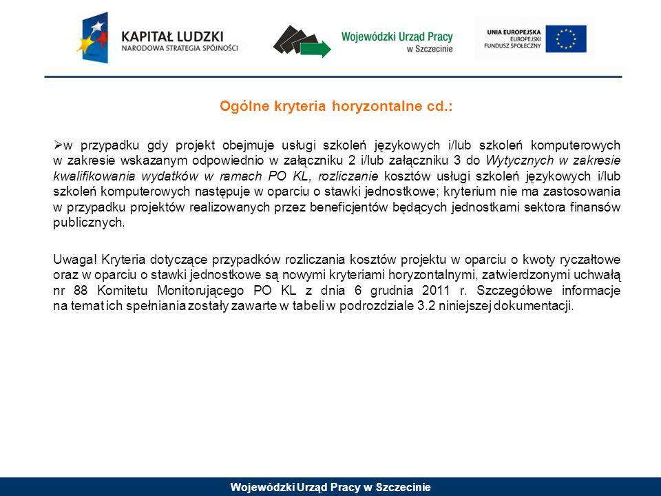 Wojewódzki Urząd Pracy w Szczecinie Szczegółowe kryteria dostępu (kryterium obligatoryjne): 1.Projektodawca składa nie więcej niż dwa wnioski o dofinansowanie w ramach danego Konkursu (dotyczy typów operacji 1 i 2); 2.Okres realizacji projektu trwa nie dłużej niż do 30.06.2015 roku, a planowany termin rozpoczęcia realizacji projektu przypada w 2013 roku (dotyczy typów operacji 1 i 2); 3.Beneficjent w okresie realizacji projektu prowadzi biuro projektu (lub posiada siedzibę, filię, delegaturę, oddział czy inną prawnie dozwolona formę organizacyjną działalności podmiotu) na terenie województwa zachodniopomorskiego, z możliwością udostępnienia pełnej dokumentacji wdrażanego projektu oraz zapewniające uczestnikom możliwość osobistego kontaktu z kadrą projektu.