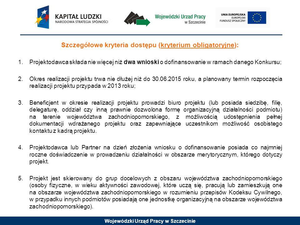 Wojewódzki Urząd Pracy w Szczecinie Szczegółowe kryteria dostępu (kryterium obligatoryjne) cd.: 6.Wskaźnik efektywności zatrudnieniowej dla jego uczestników mierzony w okresie do 3 miesięcy po zakończonym udziale w projekcie wynosi co najmniej 30%.