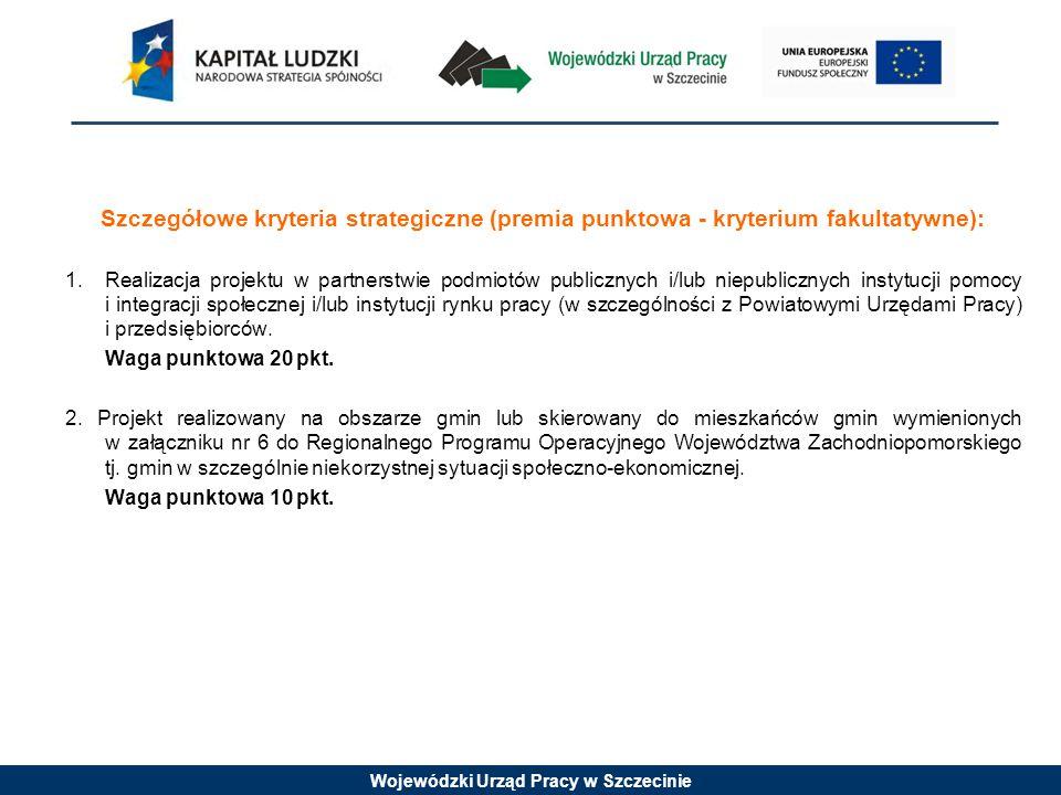 Wojewódzki Urząd Pracy w Szczecinie Punkt 3.2 Grupy docelowe