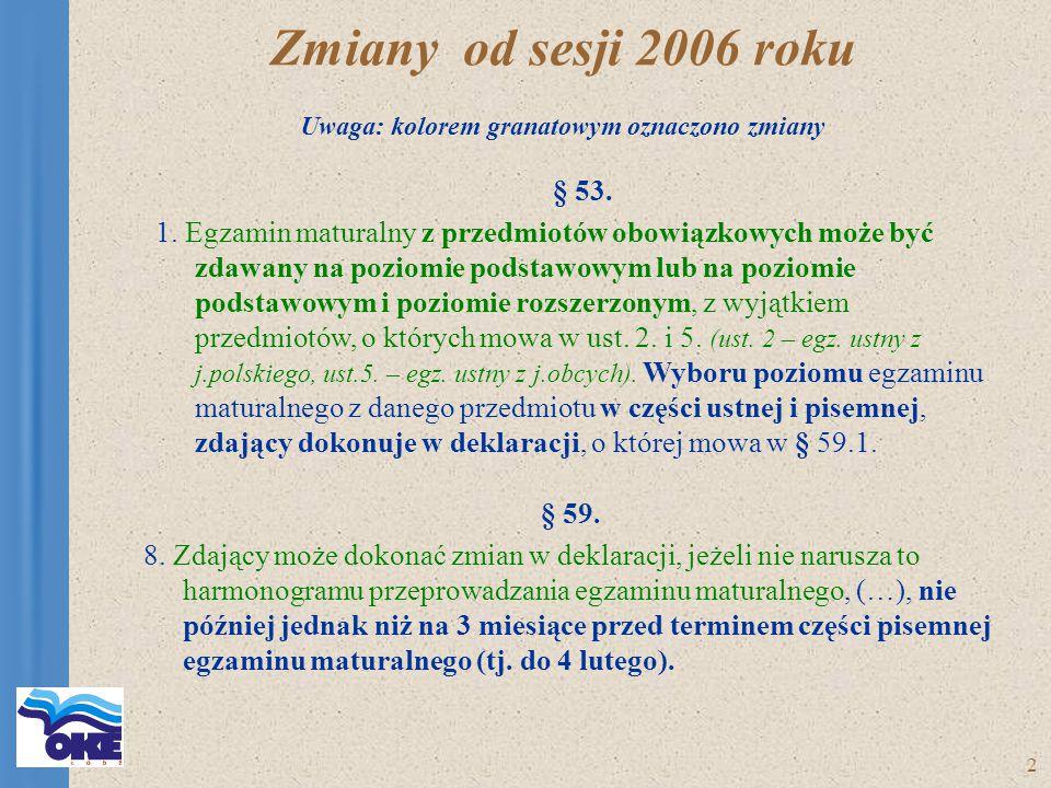 2 Zmiany od sesji 2006 roku Uwaga: kolorem granatowym oznaczono zmiany § 53.