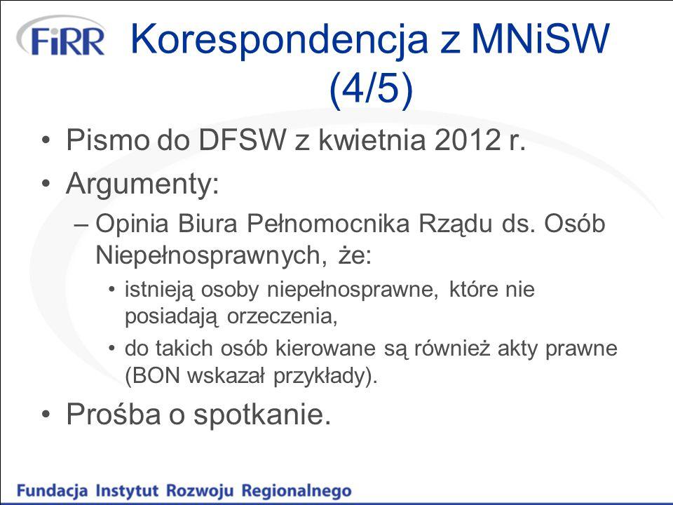 Korespondencja z MNiSW (4/5) Pismo do DFSW z kwietnia 2012 r. Argumenty: –Opinia Biura Pełnomocnika Rządu ds. Osób Niepełnosprawnych, że: istnieją oso