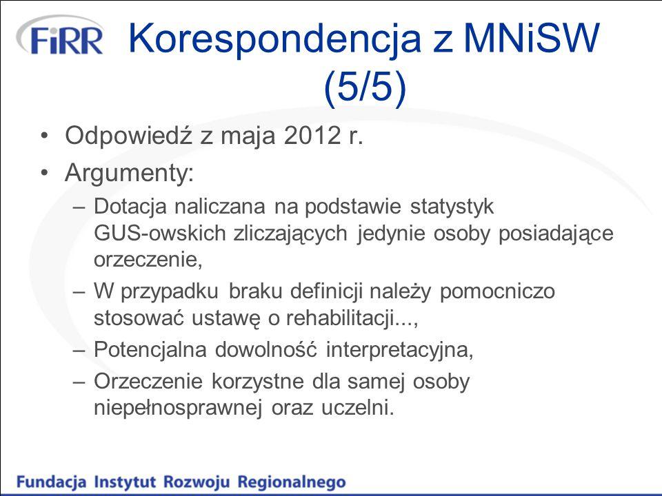 Korespondencja z MNiSW (5/5) Odpowiedź z maja 2012 r. Argumenty: –Dotacja naliczana na podstawie statystyk GUS-owskich zliczających jedynie osoby posi