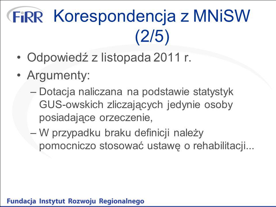 Korespondencja z MNiSW (2/5) Odpowiedź z listopada 2011 r. Argumenty: –Dotacja naliczana na podstawie statystyk GUS-owskich zliczających jedynie osoby