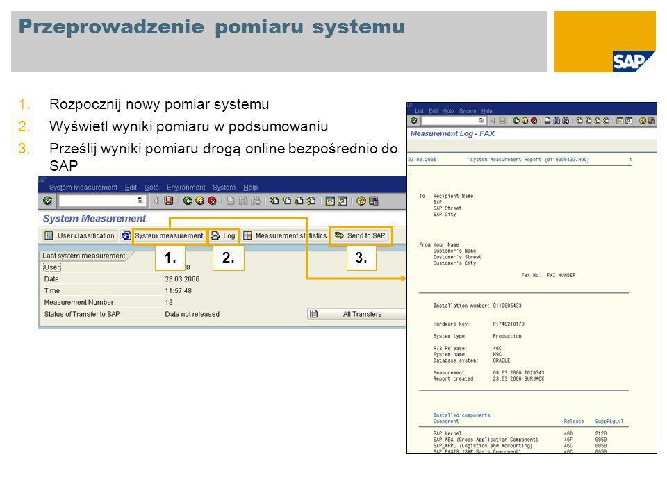Przeprowadzenie pomiaru systemu 1.Rozpocznij nowy pomiar systemu 2.Wyświetl wyniki pomiaru w podsumowaniu 3.Prześlij wyniki pomiaru drogą online bezpośrednio do SAP 1.2.3.