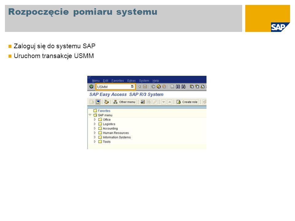 Rozpoczęcie pomiaru systemu Zaloguj się do systemu SAP Uruchom transakcje USMM