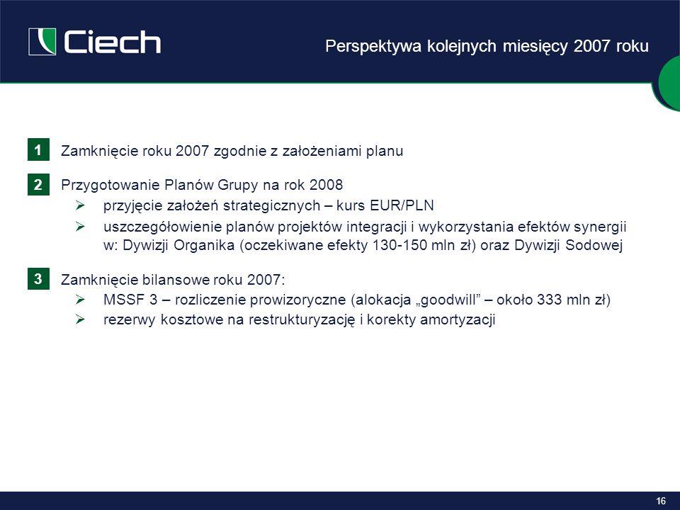 """16 Zamknięcie roku 2007 zgodnie z założeniami planu Przygotowanie Planów Grupy na rok 2008  przyjęcie założeń strategicznych – kurs EUR/PLN  uszczegółowienie planów projektów integracji i wykorzystania efektów synergii w: Dywizji Organika (oczekiwane efekty 130-150 mln zł) oraz Dywizji Sodowej Zamknięcie bilansowe roku 2007:  MSSF 3 – rozliczenie prowizoryczne (alokacja """"goodwill – około 333 mln zł)  rezerwy kosztowe na restrukturyzację i korekty amortyzacji 1 2 3 Perspektywa kolejnych miesięcy 2007 roku"""
