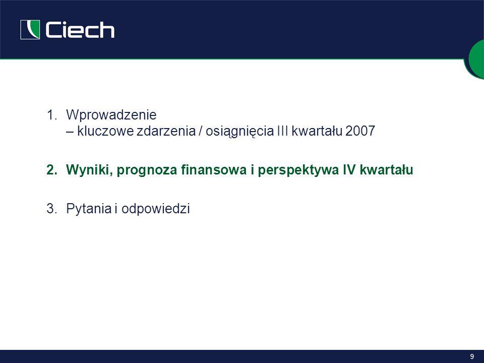 9 1.Wprowadzenie – kluczowe zdarzenia / osiągnięcia III kwartału 2007 2.Wyniki, prognoza finansowa i perspektywa IV kwartału 3.
