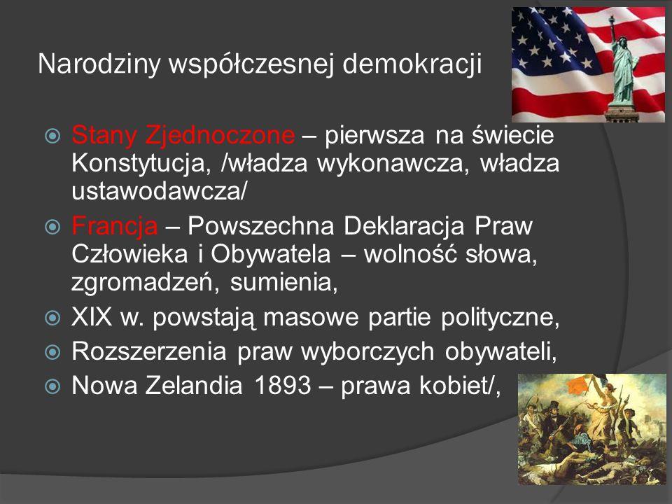 Narodziny współczesnej demokracji  Stany Zjednoczone – pierwsza na świecie Konstytucja, /władza wykonawcza, władza ustawodawcza/  Francja – Powszech