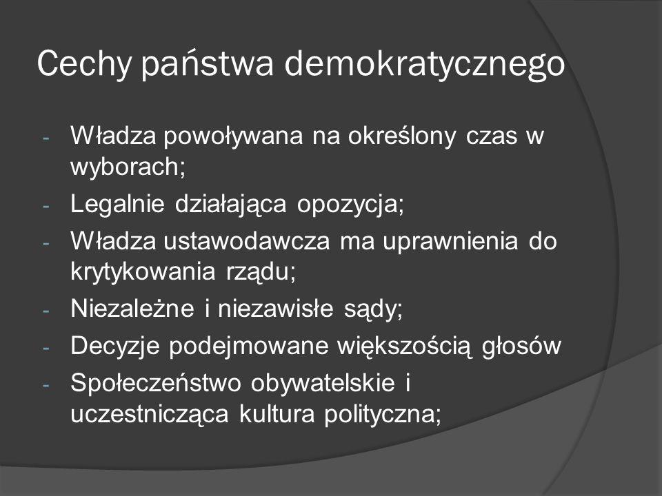 Cechy państwa demokratycznego - Władza powoływana na określony czas w wyborach; - Legalnie działająca opozycja; - Władza ustawodawcza ma uprawnienia d