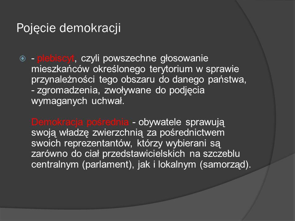 Pojęcie demokracji  Podstawowymi regulacjami prawnymi współczesnych systemów demokratycznych są: - konstytucja, czyli ustawa zasadnicza, - ustawy szczegółowe i rozporządzenia z mocą ustawy, - normy prawne regulujące powstawanie i funkcjonowanie partii politycznych, - prawo wyborcze, - akty wykonawcze do danych ustaw (wydawane przez konkretne resorty).