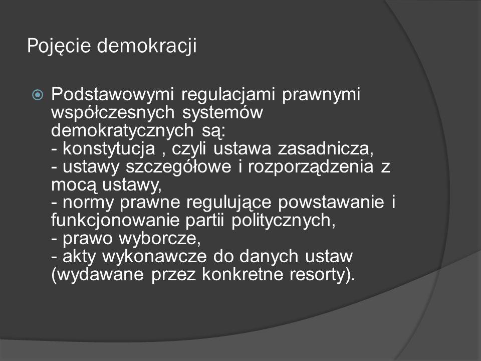  Zasada poszanowania praw mniejszości narodowych;  Zasada podziału władzy – twórcami tej koncepcji byli John Locke i Monteskiusz; wyodrębnili oni władzę ustawodawczą, wykonawczą i sądowniczą;  Zasada państwa prawa i konstytucjonalizmu – państwo musi być państwem prawa, co oznacza że obywatele moją robić wszystko co nie jest zakazane w prawie ( na co im prawo zezwala i co im nakazuje) – najwyższym prawem jest konstytucja;  Zasada pluralizmu – istnienie poszanowania dla różnych poglądów, form życia politycznego, społecznego; światopoglądów; swobody tworzenia opozycji politycznej;